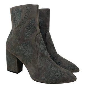 Anthropologie Silent D Mamet Grey Embroidered Pointed Toe Block Heel Booties 40